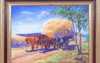 Tighten horses with high-loaded cart of hay on the
