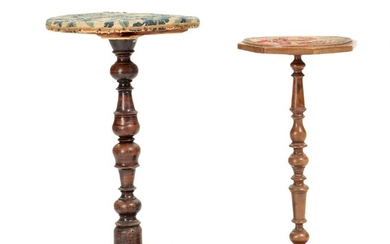 Two 18th century walnut and stained beech Baroque pedestals. H. 73 and 82 cm. (2)