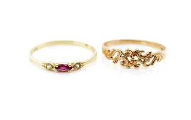 Two 9ct gold rings includes a rose gold fret work ring and a...