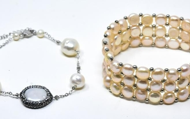 Two Handmade Baroque Cultured Pearl Bracelets
