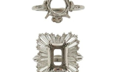 Two diamond-set ring mounts, missing centre stones, one...