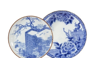 Two large Japanese blue and white chargers Late Meiji...