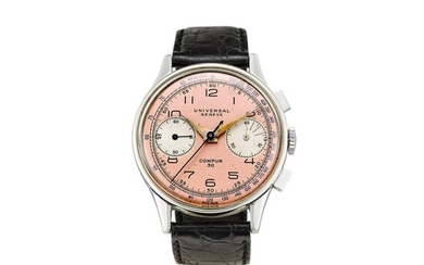 UNIVERSAL GENEVE | COMPUR 30 A STAINLESS STEEL CHRONOGRAPH WRISTWATCH WITH SALMON DIAL, CIRCA 1940