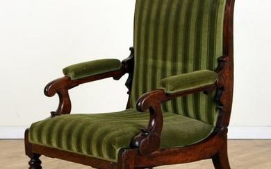 UPHOLSTERED OPEN ARM LIBRARY CHAIR CIRCA 1840