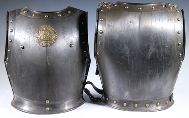 VINTAGE FRENCH CAVALRY CUIRASSIER BREASTPLATE ARMOR DATED 1853 (SECOND EMPIRE) FRONT AND BACK WITH STRAPS, MARKED KLINGENTHAL