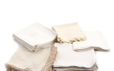 Various linen and damask napkins, including a set of six damask napkins embroidered with initials. 20th century. (31)