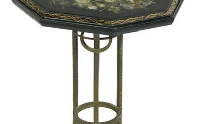 Victorian Embossed Brass & Slate-Top Side Table