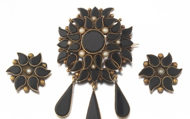 Victorian Onyx and Seed Pearl Brooch and Matching Earrings Suite, ca. 1880