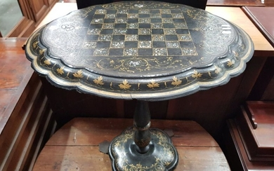 Victorian Papier-Mache Chess or Games Table, with chequer board, mother-of-pearl inlays & gilding, on a turned pedestal with iron fe...