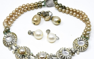 Vintage Faux Pearl Necklace & 2 Pairs Earrings