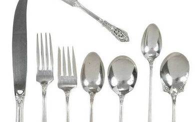 Wallace Rose Point Sterling Flatware, 110 Pieces