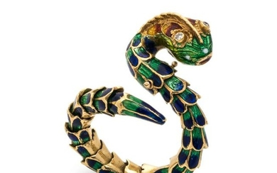 YELLOW GOLD AND POLYCHROME ENAMEL SNAKE RING