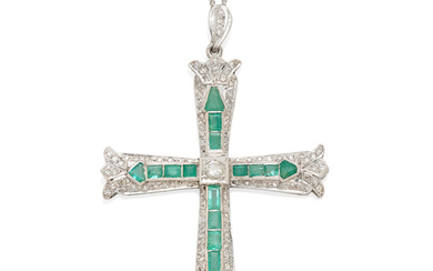 a 14k white gold, diamond and emerald cross pendant-necklace