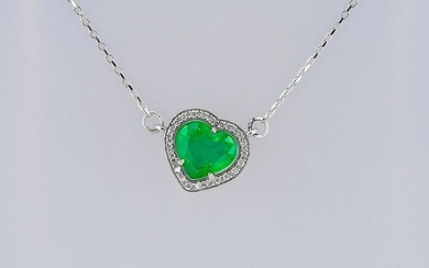 14 kt. Gold, White gold - Necklace with pendant Emerald - Diamonds