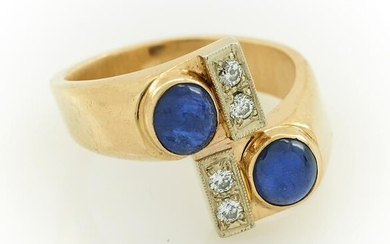 14k Yellow gold, sapphire & diamond bypass ring