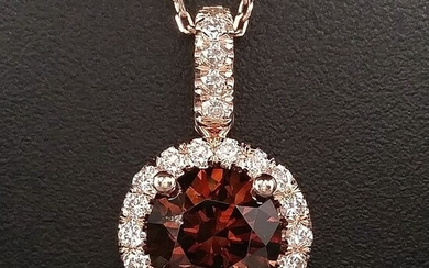 1.50ct Natural Fancy Deep Orange, Diamonds - 14 kt. Pink gold - Pendant - ***No Reserve Price***