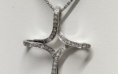 18 kt. White gold - Necklace with pendant - Diamonds, 80