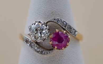 18 kt. Yellow gold - Ring - Diamond, Ruby