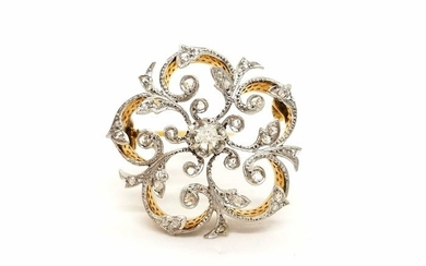18 kts. Yellow gold - Brooch Diamond
