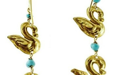 18K Yellow Gold and Turquoise Dangle Earrings