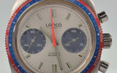 1960's LANCO chronograph wrist watch. Face marked 17 RUBIS I...