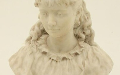 19TH C. MARBLE BUST OF YOUNG GIRL, SIGNED AT SLEEVE A.