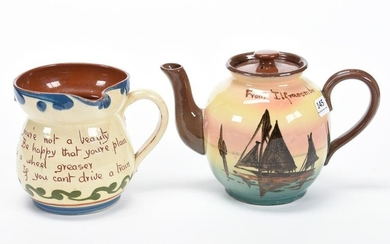 (2) Unmarked Torquay Pottery Motto Ware Items