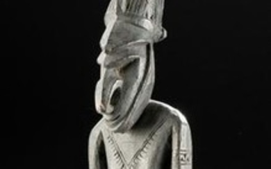 20th C. PNG Murik Lakes Wooden Standing Male Figure