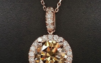 2.41ct Natural Fancy Intense Orangy Yellowish Brown, Diamonds - 14 kt. Pink gold - Pendant - ***No Reserve Price***
