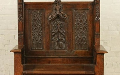 EARLY 19TH C. GOTHIC STYLE CARVED OAK BENCH
