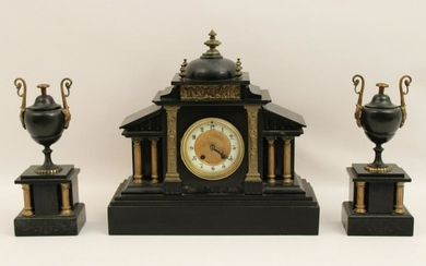 3 pc French bronze mounted onyx clock set