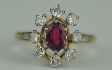 Diamond Halo & Ruby- 18 kt. Yellow gold - Ring