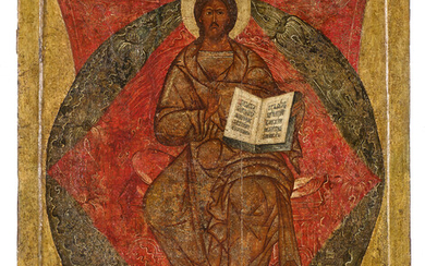 345. A Russian icon of the Saviour Enthroned in Glory