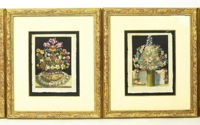 4 Hand Colored Framed Floral Etchings