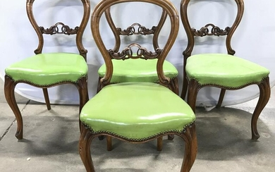 4 Vintage Wooden Leather Seat Balloon Back Chairs