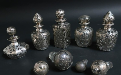 5 Sterling Silver Overlay Clear Glass Perfumes