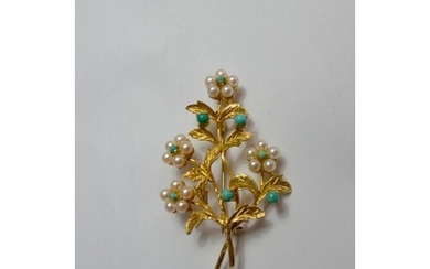 9ct yellow gold with turquoise and seeded pearl brooch. Yell...