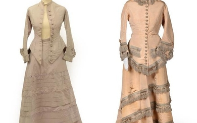 A 19th Century Cream Silk Wedding Outfit, comprising a fitted...