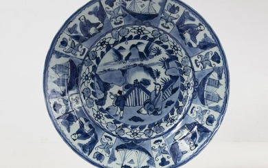 A BLUE AND WHITE PLATE, CHINA, TRANSITIONAL PERIOD