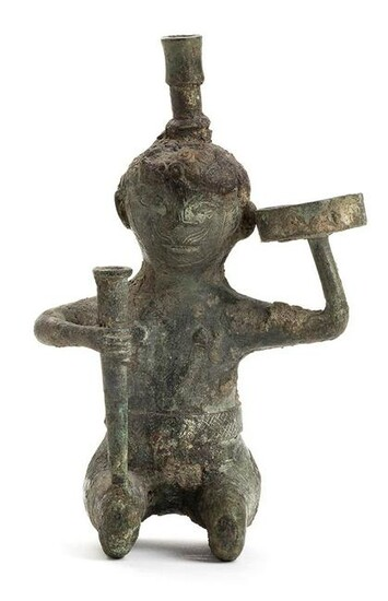 A BRONZE ANTROPOMORPHIC OIL LAMP China, Han dynasty