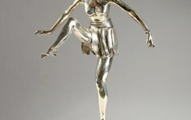 A CHROME PLATED BRONZE ART NOUVEAU STYLE FIGURE, on a
