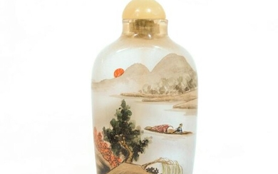 A Chinese Landscape Glass Snuff Bottle