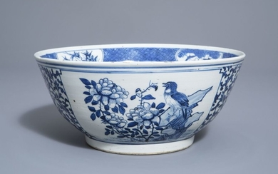 A Chinese blue and white bowl with birds...