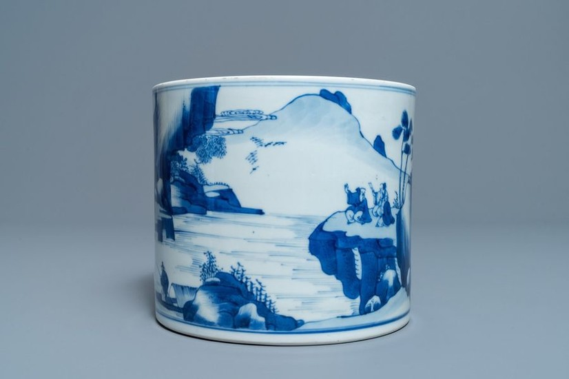 A Chinese blue and white 'landscape' brush pot,...
