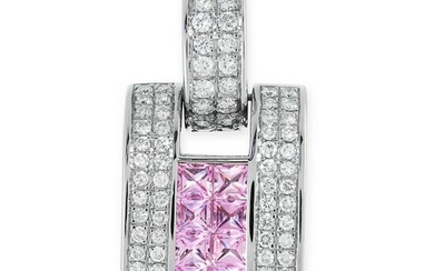 A DIAMOND AND PINK TOURMALINE PENDANT in 18ct white