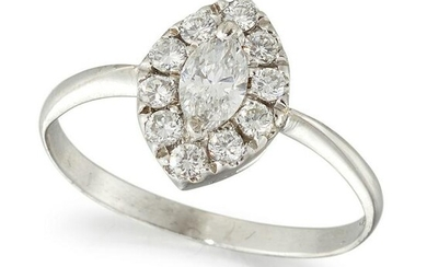 A DIAMOND NAVETTE CLUSTER RING, a marquise-cut diamond