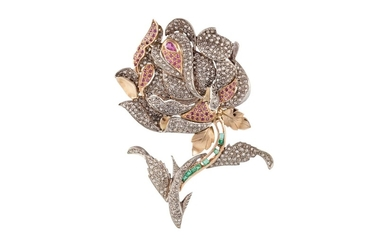 A DIAMOND, RUBY AND EMERALD FLORAL SPRAY BROOCH/PENDANT