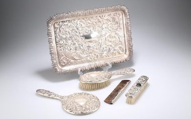 A DRESSING TABLE SET, comprising a silver-backed