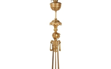 A FRENCH LATE 19TH CENTURY 'JAPONISME' GILT BRONZE FLOORSTAN...
