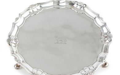 A GEORGE II STERLING SILVER CARD TRAY BY JOSEPH SANDERS, LONDON, CIRCA 1741